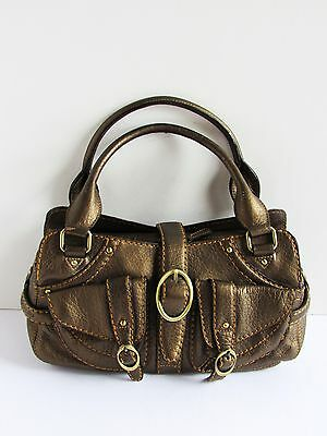 CROMIA Italy Gorgeous New Bronze Tone Leather Medium Satchel Handbag NWOT
