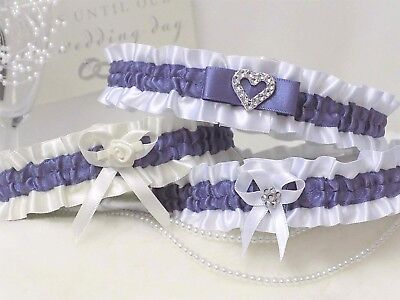 Bridal garter. White/Ivory with Moonlight.  In 3 Styles with 'Something blue'