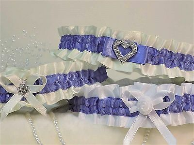 Bridal garter. White/Ivory with Lupin.  In 3 Styles with 'Something blue'