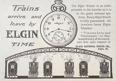 Antique 1904 Ad(F14)~Elgin National Watch Co. Train Conductor Time, Elgin, Ill.