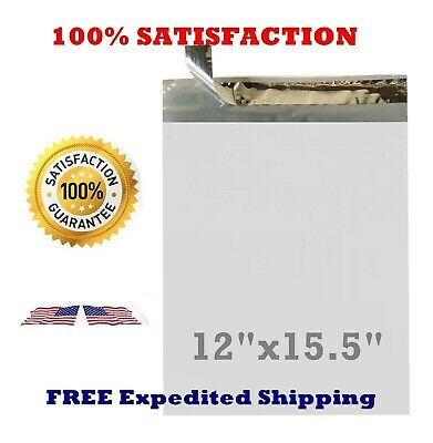 50 100 200 500 - 12x15.5 WHITE POLY MAILERS ENVELOPES BAGS 12 x 15.5 - 2.35MIL