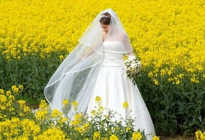 """Light Ivory 2 Tier 20"""" Blusher 98"""" Long Cathedral Pencil Trim Veil Wedding Comb"""