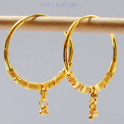 "Stunning 22k Yellow & white ""Gold Plated Small Hoop Earrings.3 cm Indian Style"