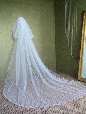 "2T Light Ivory Pearls 28"" Blusher 110"" Pencil Trim Cathedral Wedding Veil Comb"