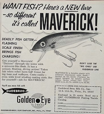 1967 Ad(Odl18)~Gudebrod Bros. Silk Co. Phil. Golden Eye Maverick Fishing Lure