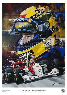 AYRTON SENNA. limited edition print by artist Greg Tillett FORMULA ONE F1 Poster
