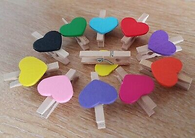 Mini Wooden Pegs with Mini Colour Hearts Craft Wedding Hanging Photo Clips Wood