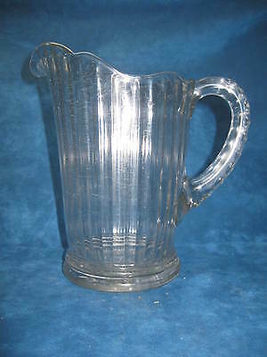 Antique Ribbed Clear Glass WATER PITCHER, Pressed Glass Handle & Bottom...Nice