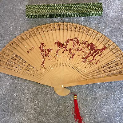 Large Decorative Vintage Wooden Hand-painted Chinese Hand Fan in Original Box