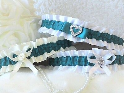 Bridal garter. White/Ivory with Jade contrast. 3 Styles with 'Something blue'