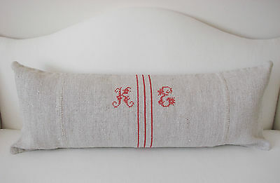 Antique Vintage French Grainsack Hemp Linen Pillow Monogram 35 x 13.5 inches
