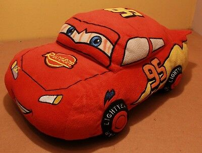 "Disney Cars Official Lightning McQueen 16"" Soft Plush Toy Pillow Cushion VGC"