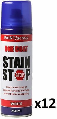 12 x Stain Stop Aerosol Spray 250ml Decorating Walls Ceilings Etc. White