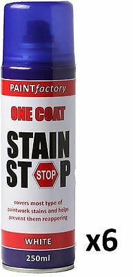 6 x Stain Stop Aerosol Spray 250ml Decorating Walls Ceilings Etc. White