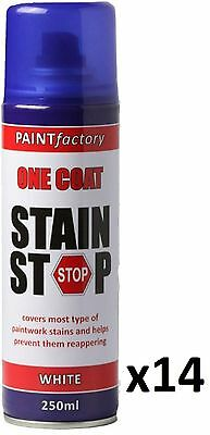 14 x Stain Stop Aerosol Spray 250ml Decorating Walls Ceilings Etc. White