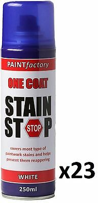 23 x Stain Stop Aerosol Spray 250ml Decorating Walls Ceilings Etc. White
