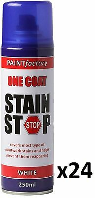 24 x Stain Stop Aerosol Spray 250ml Decorating Walls Ceilings Etc. White