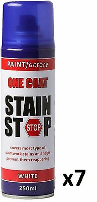 7 x Stain Stop Aerosol Spray 250ml Decorating Walls Ceilings Etc. White