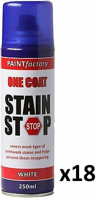 18 x Stain Stop Aerosol Spray 250ml Decorating Walls Ceilings Etc. White