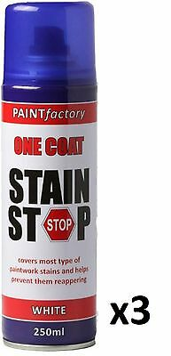 3 x Stain Stop Aerosol Spray 250ml Decorating Walls Ceilings Etc. White