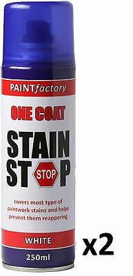 2 x Stain Stop Aerosol Spray 250ml Decorating Walls Ceilings Etc. White