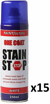 15 x Stain Stop Aerosol Spray 250ml Decorating Walls Ceilings Etc. White