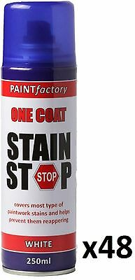48 x Stain Stop Aerosol Spray 250ml Decorating Walls Ceilings Etc. White