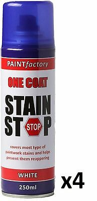 4 x Stain Stop Aerosol Spray 250ml Decorating Walls Ceilings Etc. White