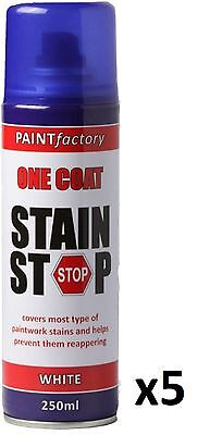 5 x Stain Stop Aerosol Spray 250ml Decorating Walls Ceilings Etc. White