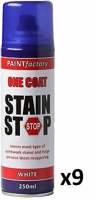9 x Stain Stop Aerosol Spray 250ml Decorating Walls Ceilings Etc. White