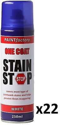 22 x Stain Stop Aerosol Spray 250ml Decorating Walls Ceilings Etc. White