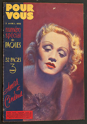 'pour Vous' French Vintage Magazine Marlene Dietrich Cover 2 April 1936