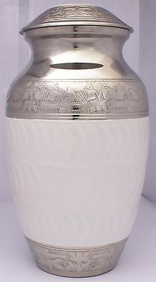 adult cremation urns, Large White Brass Ash Container Funeral - SALE -