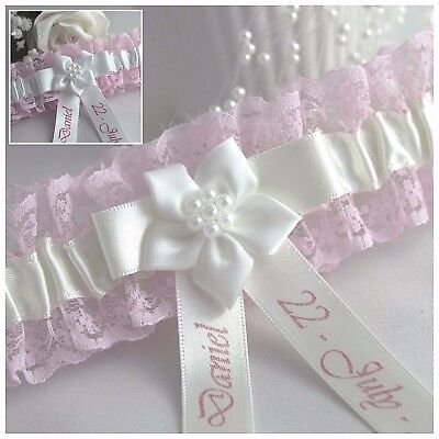 PERSONALISED BRIDAL GARTER. Pink lace with Ivory or White satin. Names & Date