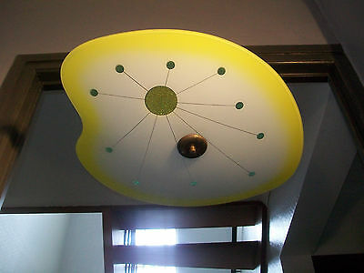 Suspension Lampe Palette Verre Metal Moderniste Design 50 60 Vintage