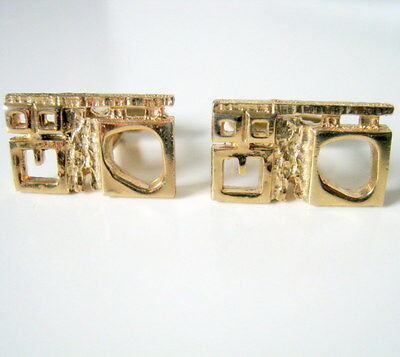Hickok Cufflinks, Vintage Gold Tone Abstract Design, Men's Accessories