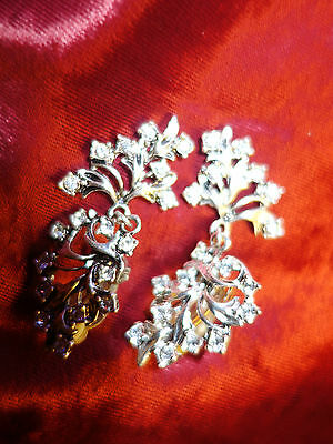Vintage 1980s dangle large clip earrings silver-tone and diamante - flower theme