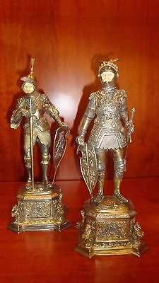Pair of Silver Knights Statues Germany Early 20th Certificate of Origin