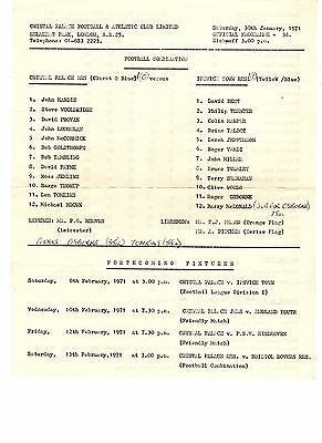 Crystal Palace v Ipswich Town Reserves Programme 30.1.1971