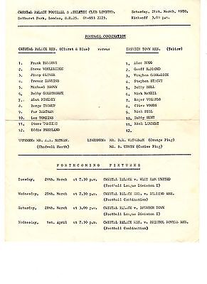 Crystal Palace v Ipswich Town Reserves Programme 21.3.1970