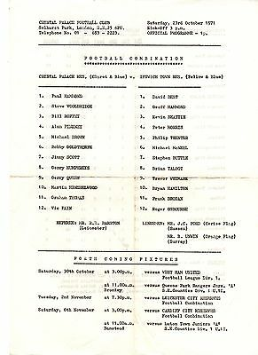 Crystal Palace v Ipswich Town Reserves Programme 23.10.1971