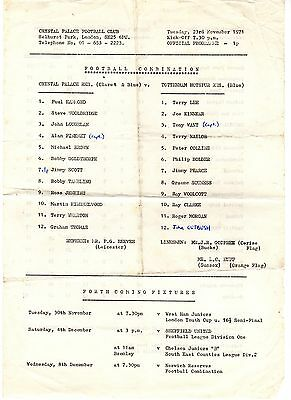Crystal Palace v Tottenham Reserves Programme 23.11.1971