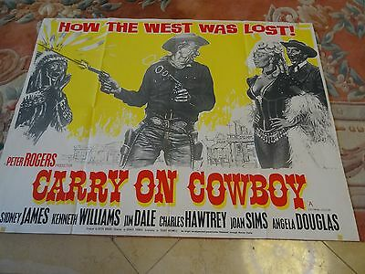 Carry On Cowboy Vintage Original 1965 UK Quad Poster-very good condition