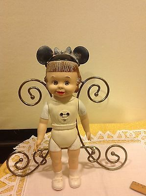 Vintage Disney Mickey Mouse Club Mouseketeer Girl Rubber  Doll aprox. 12""