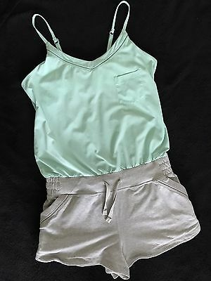 NEW Ivivva By Lululemon Camp Hardly Wait Romper 14 Teal Top Gray Shorts