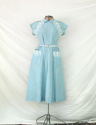 Adorable Vintage 1940's 50's Light Blue and white lace embroidered cotton dress