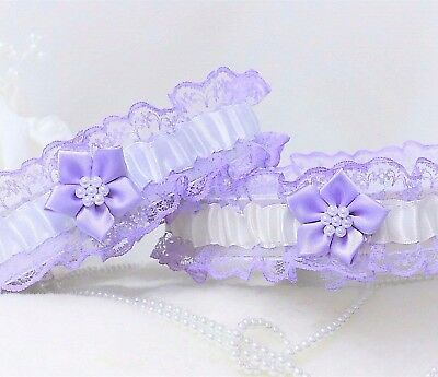 """Lilac Lace & Satin Bridal Garters. Ivory Or White Trim & """"something Blue"""" Added"""