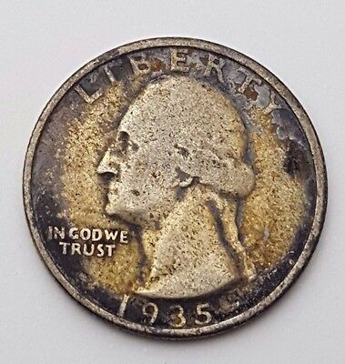 Dated : 1935 - Silver - Quarter Dollar - 1/4 $ - American / USA - Rare Coin