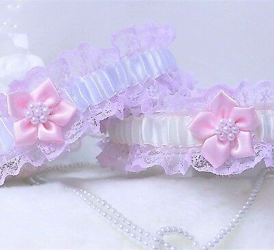 Pink Lace Bridal Garters With White Or Ivory Satin Trim & 'something Blue' Added