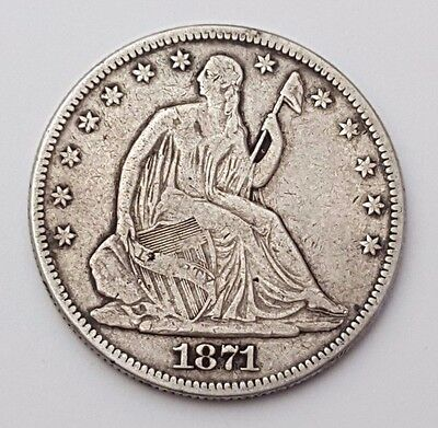 Dated 1871 - Silver Coin - Half Dollar - Seated Liberty - 1/2 $ - American / USA